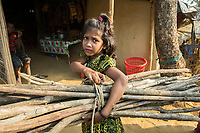 Bangladesh, Cox's Bazar. Kutupalong Rohingya Refugee Camp. The Rohingya, a Muslim ethnic group  denied citizenship in Burma/Myanmar have escaped persecution from Burmese militants in their country. There are up to 500,000 refugees and migrants living in makeshift camps in Cox's Bazar. Girl with bamboo.