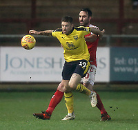Oxford United's Jamie Mackie shields the ball from Fleetwood Town's Craig Morgan<br /> <br /> Photographer Rich Linley/CameraSport<br /> <br /> The EFL Sky Bet League One - Fleetwood Town v Oxford United - Saturday 12th January 2019 - Highbury Stadium - Fleetwood<br /> <br /> World Copyright &copy; 2019 CameraSport. All rights reserved. 43 Linden Ave. Countesthorpe. Leicester. England. LE8 5PG - Tel: +44 (0) 116 277 4147 - admin@camerasport.com - www.camerasport.com