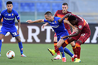 Franck Ribery of ACF Fiorentina and Amadou Diawara of AS Roma compete for the ball during the Serie A football match between AS Roma and ACF Fiorentina at stadio Olimpico in Roma (Italy), July 26th, 2020. Play resumes behind closed doors following the outbreak of the coronavirus disease. <br /> Photo Antonietta Baldassarre / Insidefoto