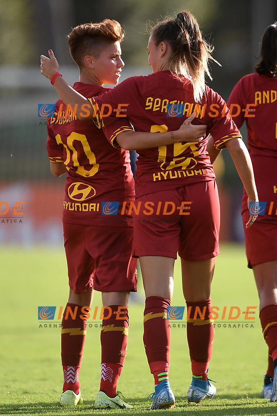 Annamaria Serturini of AS Roma (2L) celebrates with team mate Manuela Giugliano after scoring the goal of 1-2 <br /> Roma 8/9/2019 Stadio Tre Fontane <br /> Luisa Petrucci Trophy 2019<br /> AS Roma - Paris Saint Germain<br /> Photo Andrea Staccioli / Insidefoto