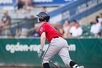 Billings Mustangs designated hitter Cash Case (9) starts down the first base line during a Pioneer League game against the Ogden Raptors at Lindquist Field on August 17, 2018 in Ogden, Utah. The Billings Mustangs defeated the Ogden Raptors by a score of 6-3. (Zachary Lucy/Four Seam Images)