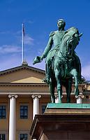 Det Kongelige Slott - Schloss, Statue Karl Johan, Oslo, Norwegen