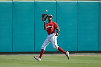 North Carolina State Wolfpack center fielder Terrell Tatum (1) catches a fly ball during the game against the Army Black Knights at Doak Field at Dail Park on June 3, 2018 in Raleigh, North Carolina. The Wolfpack defeated the Black Knights 11-1. (Brian Westerholt/Four Seam Images)