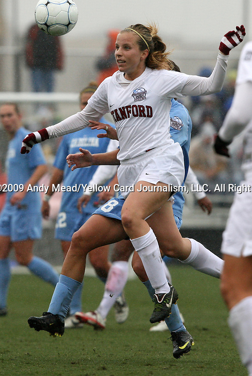 06 December 2009: Stanford's Allison McCann. The University of North Carolina Tar Heels defeated the Stanford University Cardinal 1-0 at Aggie Soccer Stadium in College Station, Texas in the NCAA Division I Women's College Cup Championship game.