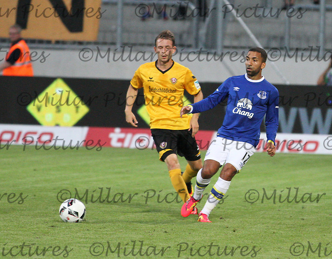 Aaron Lennon plays the ball back before being tackled by Marc Wachs in the Dynamo Dresden v Everton match in the Bundeswehr Karriere Cup Dresden 2016 played at the DDV Stadion, Dresden on 29.7.16.
