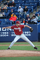 Keith Weisenberg #15 of the Stanford Cardinal pitches against the Cal State Fullerton Titans at Goodwin Field on February 19, 2017 in Fullerton, California. Stanford defeated Cal State Fullerton, 8-7. (Larry Goren/Four Seam Images)