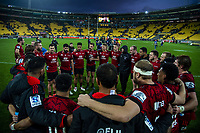 The Crusaders huddle after winning the Super Rugby Aotearoa match between the Hurricanes and Crusaders at Sky Stadium in Wellington, New Zealand on Saturday, 21 June 2020. Photo: Dave Lintott / lintottphoto.co.nz