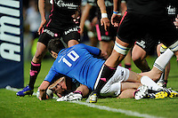 Cian Healy of Leinster  scores a late try during the Amlin Challenge Cup Final between Leinster Rugby and Stade Francais at the RDS Arena, Dublin on Friday 17th May 2013 (Photo by Rob Munro).
