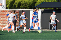 Allston, MA - Sunday, May 22, 2016: Boston Breakers midfielder Kristie Mewis (19) is chased by FC Kansas City defender Brittany Taylor (13), midfielder Desiree Scott (3), and defender Alex Arlitt (5) during a regular season National Women's Soccer League (NWSL) match at Jordan Field.