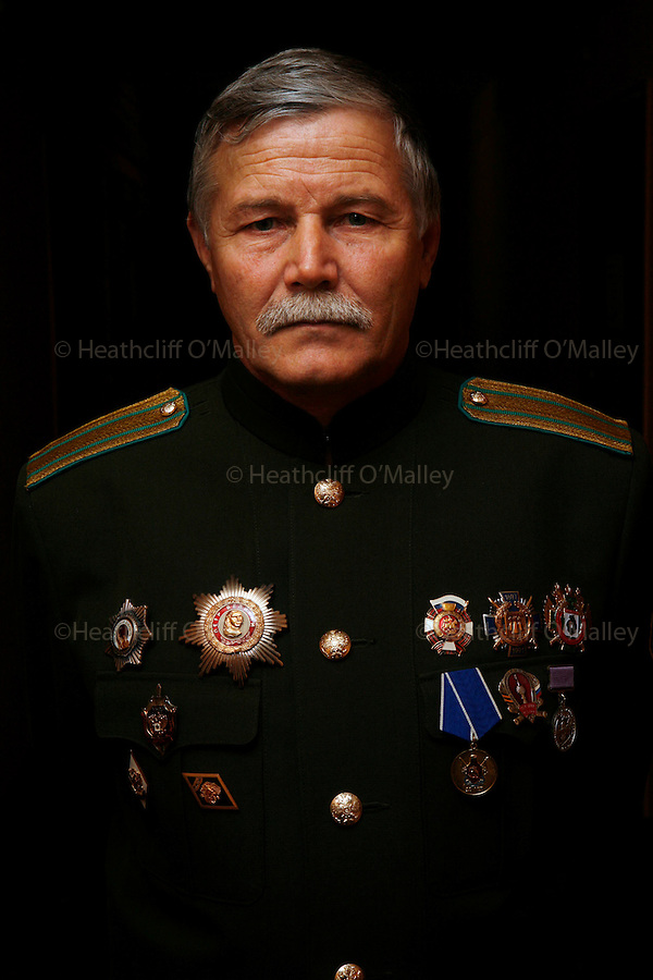 "Photo by Heathcliff Omalley..Sergei Khudyakov, a ""Colonel"" in the resurrected Cossack movement which deploys border guards on the Russo-Chinese frontier 70kms from the city of Khabarovsk in Far Eastern Russia..The Cossacks were used during"