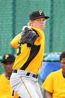 GCL Pirates relief pitcher Jackson Lodge #48 warms up in the bullpen during a game against the GCL Braves at Disney Wide World of Sports on June 25, 2011 in Kissimmee, Florida.  The Pirates defeated the Braves 5-4 in ten innings.  (Mike Janes/Four Seam Images)