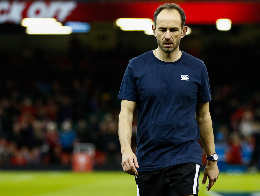Referee Romain Poite during the pre match warm up<br /> <br /> Photographer Simon King/CameraSport<br /> <br /> International Rugby Union - RBS 6 Nations Championships 2016 - Wales v Italy - Saturday 19th March 2016 - Principality Stadium, Cardiff <br /> <br /> &copy; CameraSport - 43 Linden Ave. Countesthorpe. Leicester. England. LE8 5PG - Tel: +44 (0) 116 277 4147 - admin@camerasport.com - www.camerasport.com