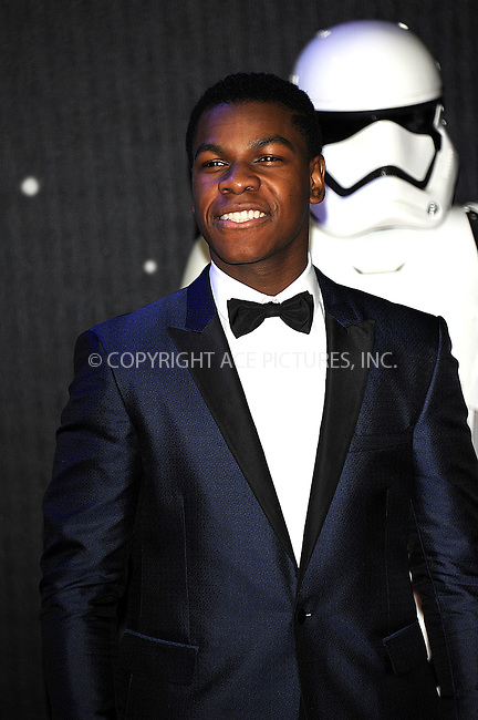 WWW.ACEPIXS.COM<br /> <br /> December 16 2015, London<br /> <br /> John Boyega arriving at the European Premiere of 'Star Wars: The Force Awakens' in Leicester Square on December 16, 2015 in London, England.<br /> <br /> By Line: Famous/ACE Pictures<br /> <br /> <br /> ACE Pictures, Inc.<br /> tel: 646 769 0430<br /> Email: info@acepixs.com<br /> www.acepixs.com