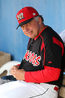 Batavia Muckdogs hitting coach Roger Lafrancois (17) during a game vs the Williamsport Crosscutters at Dwyer Stadium in Batavia, New York July 25, 2010.   Batavia defeated Williamsport 8-1.  Photo By Mike Janes/Four Seam Images