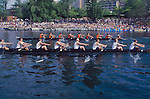Rowing, Seattle, Windermere Cup Regatta, University of Washington mens eight vies for the lead with Oregon State University, Montlake Cut, Lake Washington Ship Canal, Opening day of the competitive rowing season, 2003.