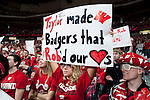Wisconsin Badgers fan displays a homemade sign during a Big Ten Conference NCAA college basketball game against the Illinois Fighting Illini on Sunday, March 4, 2012 in Madison, Wisconsin. The Badgers won 70-56. (Photo by David Stluka)