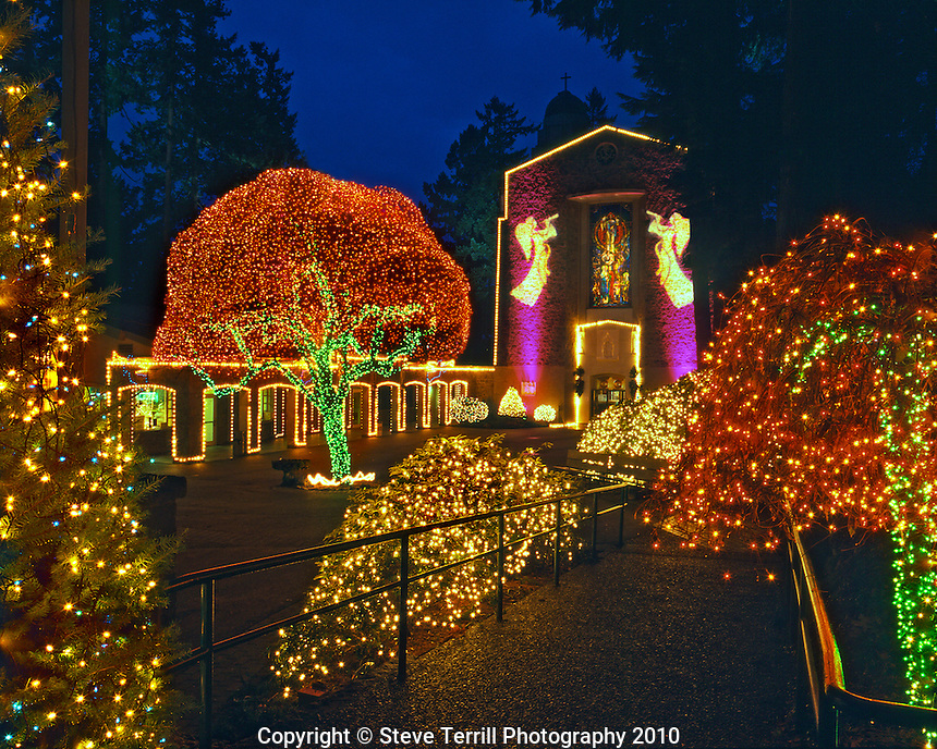usa oregon christmas light display at the grotto sanctuary in portland