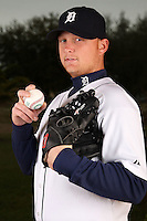 February 27, 2010:  Pitcher Josh Rainwater (64) of the Detroit Tigers poses for a photo during media day at Joker Marchant Stadium in Lakeland, FL.  Photo By Mike Janes/Four Seam Images