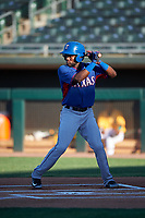 AZL Rangers Rafy Barete (21) at bat during an Arizona League game against the AZL Athletics Gold on July 15, 2019 at Hohokam Stadium in Mesa, Arizona. The AZL Athletics Gold defeated the AZL Rangers 9-8 in 11 innings. (Zachary Lucy/Four Seam Images)