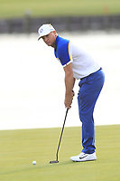 Alex Noren (Team Europe) lines up his putt on the 18th green during the Sunday Singles of the Ryder Cup, Le Golf National, Ile-de-France, France. 30/09/2018.<br /> Picture Thos Caffrey / Golffile.ie<br /> <br /> All photo usage must carry mandatory copyright credit (© Golffile | Thos Caffrey)