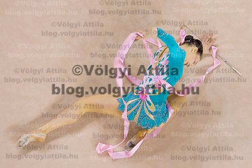 Liubouv Charkashyna (BLR) performs with the ribbon during the final of the 2nd Garantiqa Rythmic Gymnastics World Cup held in Debrecen, Hungary. Sunday, 07. March 2010. ATTILA VOLGYI