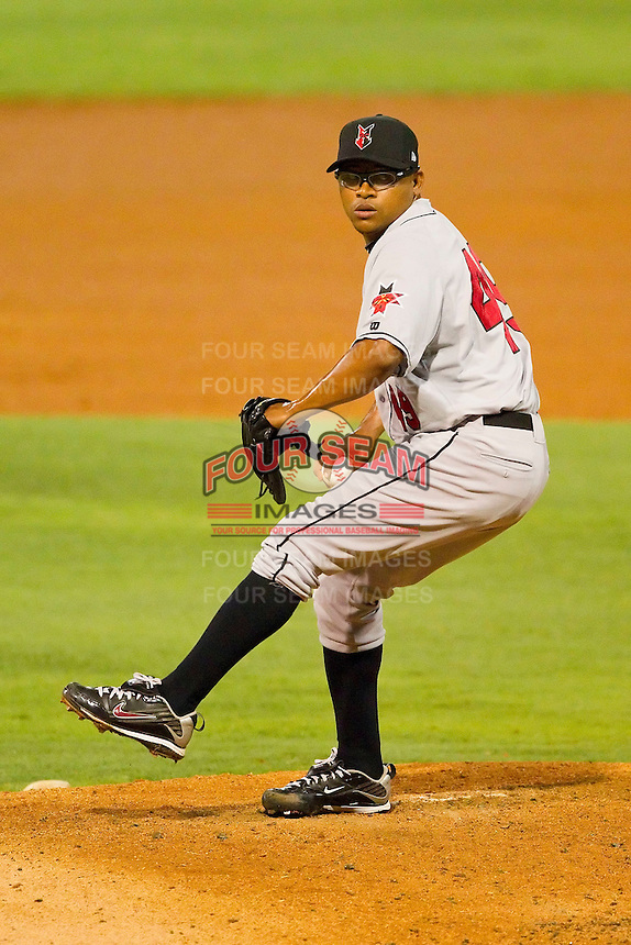 Relief pitcher Jose Ascanio #49 of the Indianapolis Indians in action against the Charlotte Knights at Knights Stadium on July 26, 2011 in Fort Mill, South Carolina.  The Knights defeated the Indians 5-4.   (Brian Westerholt / Four Seam Images)
