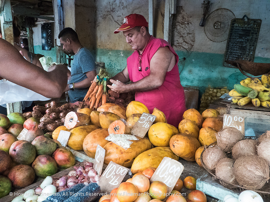 Fresh produce vendor in street market, Old Havana