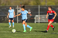 Piscataway, NJ, April 24, 2016.  Midfielder Raquel Rodriguez (11) of Sky Blue FC dribbles past Washington Spirit midfielder Christine Nairn (7).  The Washington Spirit defeated Sky Blue FC 2-1 during a National Women's Soccer League (NWSL) match at Yurcak Field.