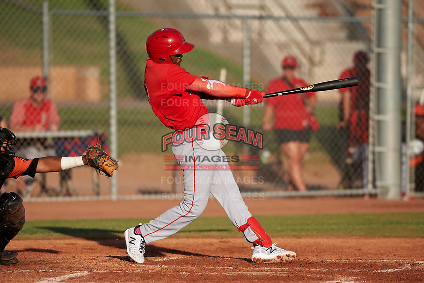 AZL Angels Drevian Williams-Nelson (6) at bat during a game against the AZL Giants Orange at Giants Baseball Complex on June 17, 2019 in Scottsdale, Arizona. AZL Giants Orange defeated AZL Angels 8-4. (Zachary Lucy/Four Seam Images)