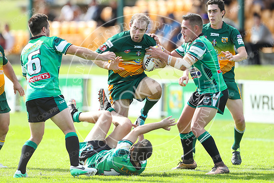 The Wyong Roos play Northern Lakes Warriors in Round 10 of the Open Age Central Coast Rugby League Division at Morry Breen Oval on 13 May, 2017 in Kanwal, NSW Australia. (Photo by Paul Barkley/LookPro)