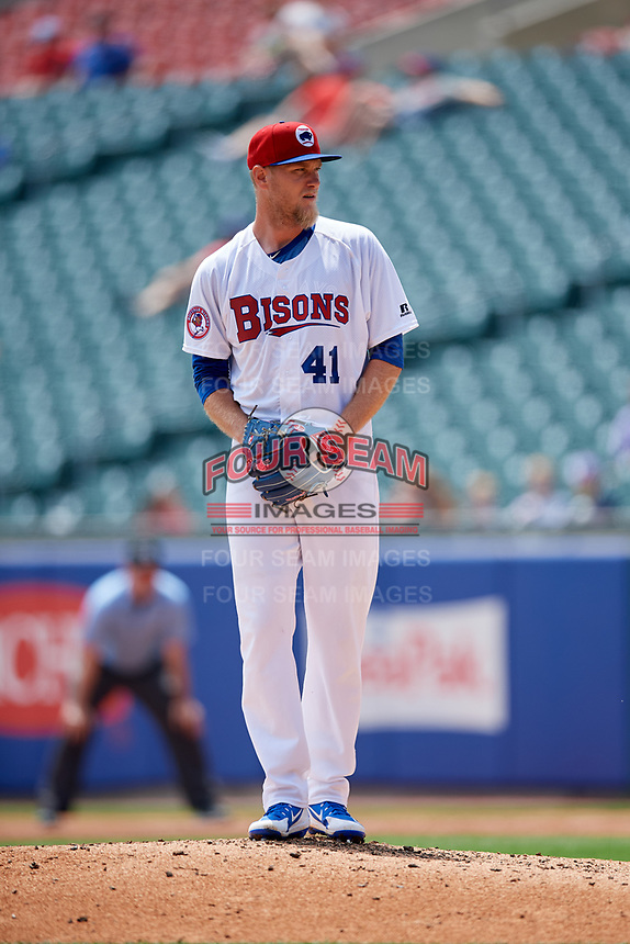 Buffalo Bisons starting pitcher Jon Harris (41) gets ready to deliver a pitch during a game against the Pawtucket Red Sox on June 28, 2018 at Coca-Cola Field in Buffalo, New York.  Buffalo defeated Pawtucket 8-1.  (Mike Janes/Four Seam Images)