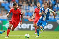 Deportivo de la Coruna's Pedro Mosquera (r) and Real Sociedad's William Jose during La Liga match. September 10,2017.  *** Local Caption *** © pixathlon<br /> Contact: +49-40-22 63 02 60 , info@pixathlon.de