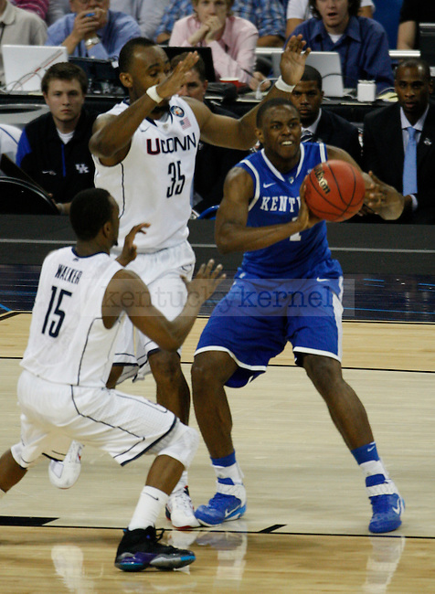 Darius Miller looks for an open teammate in the Kentucky vs. UCONN game in the Final Four of the 2011 NCAA Tournament, at Reliant Stadium, on Saturday, April 2, 2011.  UCONN won 56-55. Photo by Latara Appleby | Staff