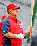 1 May 2011: Washington Nationals infielder Matt Stairs awaits his turn in the batting cage prior to a game against the San Francisco Giants at Nationals Park in Washington, District of Columbia. The Nationals defeated the Giants 5-2. Mandatory Credit: Ed Wolfstein Photo