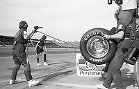 Bill Venturini's all-girl pit crew in action during the ARCA 200 stock car race, Daytona INternational Speedway, Daytona Beach, FL, February 9, 1986. (Photo by Brian Cleary/ www.bcpix.com )
