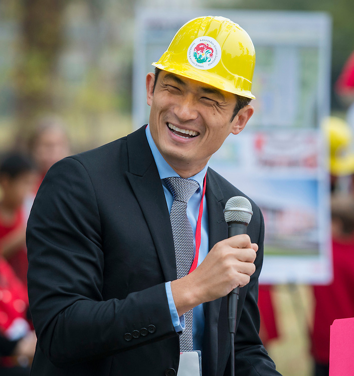 Chaolin Chang comments during a groundbreaking ceremony for the new Mandarin Chinese Language Immersion Magnet School, December 6, 2014.