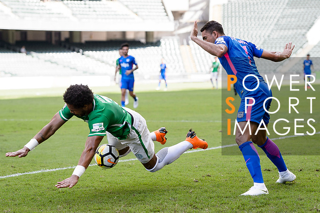Eduardo Praes of Wofoo Tai Po (L) fights for the ball with Kitchee Forward Fernando Azevedo Pedreira (R) during the Hong Kong FA Cup final between Kitchee and Wofoo Tai Po at the Hong Kong Stadium on May 26, 2018 in Hong Kong, Hong Kong. Photo by Marcio Rodrigo Machado / Power Sport Images