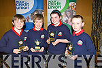 2ND: Listellick NS who were 2nd in the under11 Chapter 23 School table Quiz with their prizes on Sunday in Ballyroe Heights Hotel, Tralee l-r: Michael O'Gara, Darragh O'Brien, Isabel Horgan and Stephen Gannon................... . ............................... ..........