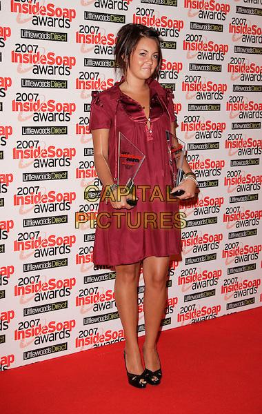 LACEY TURNER.Inside Soap Awards, Gilgamesh, London, England, September 24th 2007..full length red maroon burgundy dress awards black peep-toe shoes.CAP/ROS.©Steve Ross/Capital Pictures