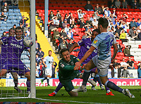 Stoke City's Jack Butland saves from Blackburn Rovers' Ben Brereton<br /> <br /> Photographer Alex Dodd/CameraSport<br /> <br /> The EFL Sky Bet Championship - Blackburn Rovers v Stoke City - Saturday 6th April 2019 - Ewood Park - Blackburn<br /> <br /> World Copyright © 2019 CameraSport. All rights reserved. 43 Linden Ave. Countesthorpe. Leicester. England. LE8 5PG - Tel: +44 (0) 116 277 4147 - admin@camerasport.com - www.camerasport.com