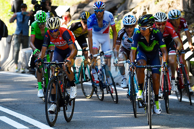 Nairo Quintana (COL) Movistar and Vincenzo Nibali (ITA) Bahrain-Merida play cat and mouse near the end of Stage 18 of the 100th edition of the Giro d'Italia 2017, running 137km from Moena to Ortisei/St. Ulrich, Italy. 25th May 2017.<br /> Picture: LaPresse/Fabio Ferrari | Cyclefile<br /> <br /> <br /> All photos usage must carry mandatory copyright credit (&copy; Cyclefile | LaPresse/Fabio Ferrari)