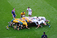 England packs down against Australia during the QBE Autumn International match for the Cook Cup between England and Australia at Twickenham on Saturday 2nd November 2013 (Photo by Rob Munro)