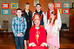 Rathmorrel NS Confirmation: Pupiks from Rathmorrel NS who were confirmed at Bakkyduff Church by Bishop Ray Browne on March 25th last. Front : Aidan Lane, Bishop Browne & Leah Dineen. Back : M/s Shelia Egan, Teacher, Jason Goggin & Fr. Brendan Walsh.