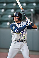 Second baseman Blake Tiberi (3) of the Columbia Fireflies stands in the on-deck circle during a game against the Greenville Drive on Monday, April 16, 2018, at Fluor Field at the West End in Greenville, South Carolina. (Tom Priddy/Four Seam Images)