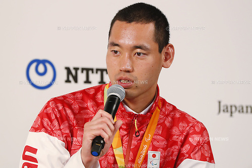 Takuya Tsugawa (JPN),<br /> SEPTEMBER 9, 2016 : <br /> Medalist Satoshi Fujimoto, Makoto Hirose and Takuya Tsugawa of Japan during the Press Conference for the Rio 2016 Paralympic Games at the Japan House in Rio de Janeiro, Brazil.<br /> (Photo by Shingo Ito/AFLO)