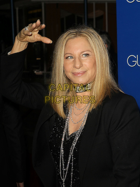 "Barbra Streisand.""The Guilt Trip"" Los Angeles Premiere held at the Regency Village Theatre, Westwood, California, USA..December 11th, 2012.half length hand arm in air black silver necklaces choker.CAP/ADM/KB.©Kevan Brooks/AdMedia/Capital Pictures."