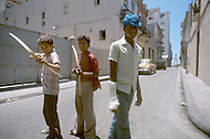 June, 1977. Havana, Cuba. Eighteen years after the Cuban Revolution the first U.S. tourists were permitted to visit Havana. Cuban children playing in the streets of Old Havana.