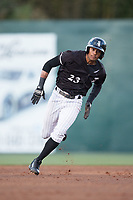 Joel Booker (23) of the Kannapolis Intimidators hustles towards third base against the Lakewood BlueClaws at Kannapolis Intimidators Stadium on April 6, 2017 in Kannapolis, North Carolina.  The BlueClaws defeated the Intimidators 7-5.  (Brian Westerholt/Four Seam Images)