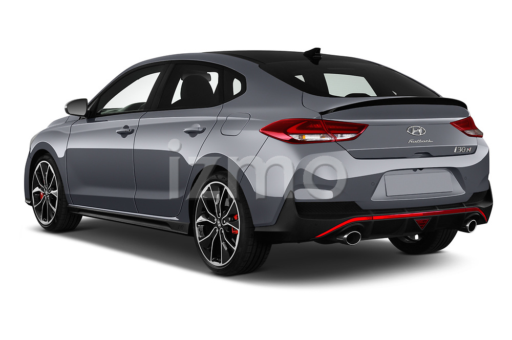 Car pictures of rear three quarter view of 2019 Hyundai i30-Fastback-N Performance-Pack 5 Door Hatchback Angular Rear