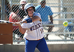 Wildcats' Nicole Lesniak hits against Colorado Northwestern during a college softball game at Edmonds Sports Complex Carson City, Nev., on Friday, April 17, 2015. WNC won both games 8-0, 11-3.<br /> Photo by Cathleen Allison/Nevada Photo Source